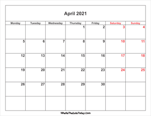 april 2021 calendar with weekend highlight