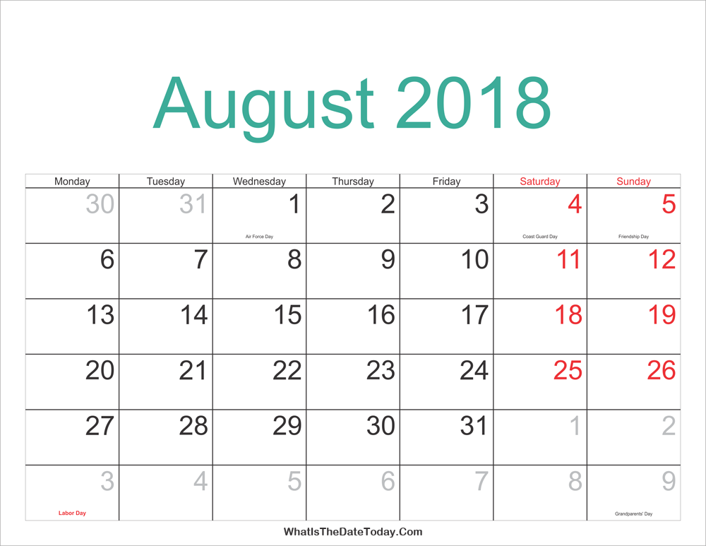 august 2018 calendar printable with holidays whatisthedatetoday com