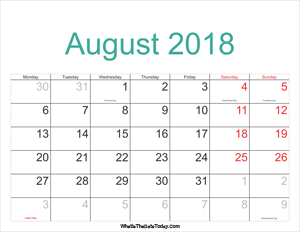 august 2018 calendar printable with holidays
