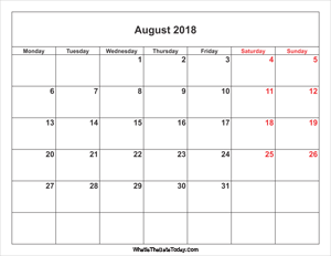 august 2018 calendar with weekend highlight