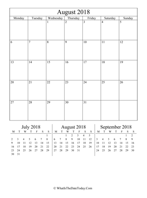 august 2018 editable calendar (vertical) with three mini months
