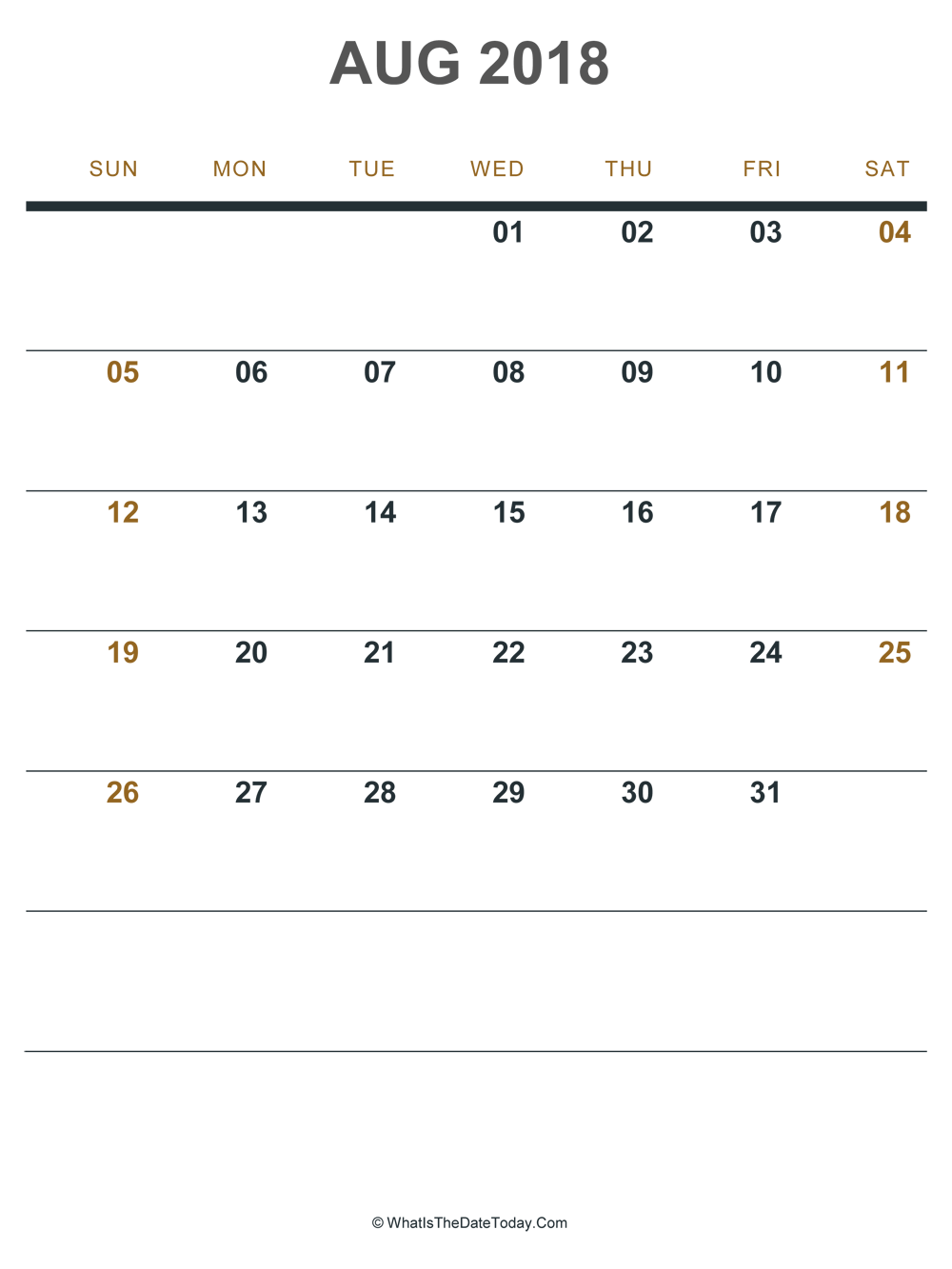 august 2018 printable calendar (portrait layout)