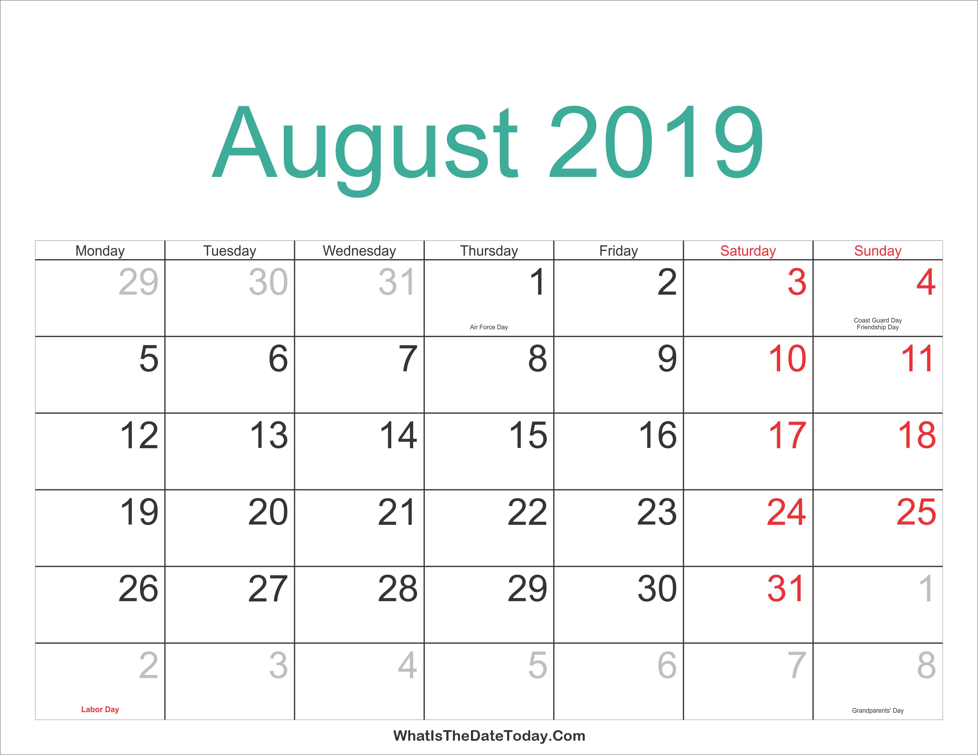 August 2019 Calendar.August 2019 Calendar Printable With Holidays Whatisthedatetoday Com