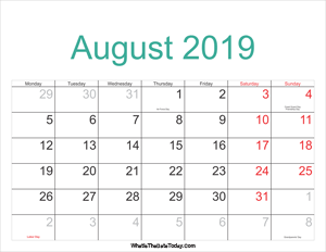august 2019 calendar printable with holidays