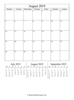august 2019 editable calendar (vertical) with three mini months