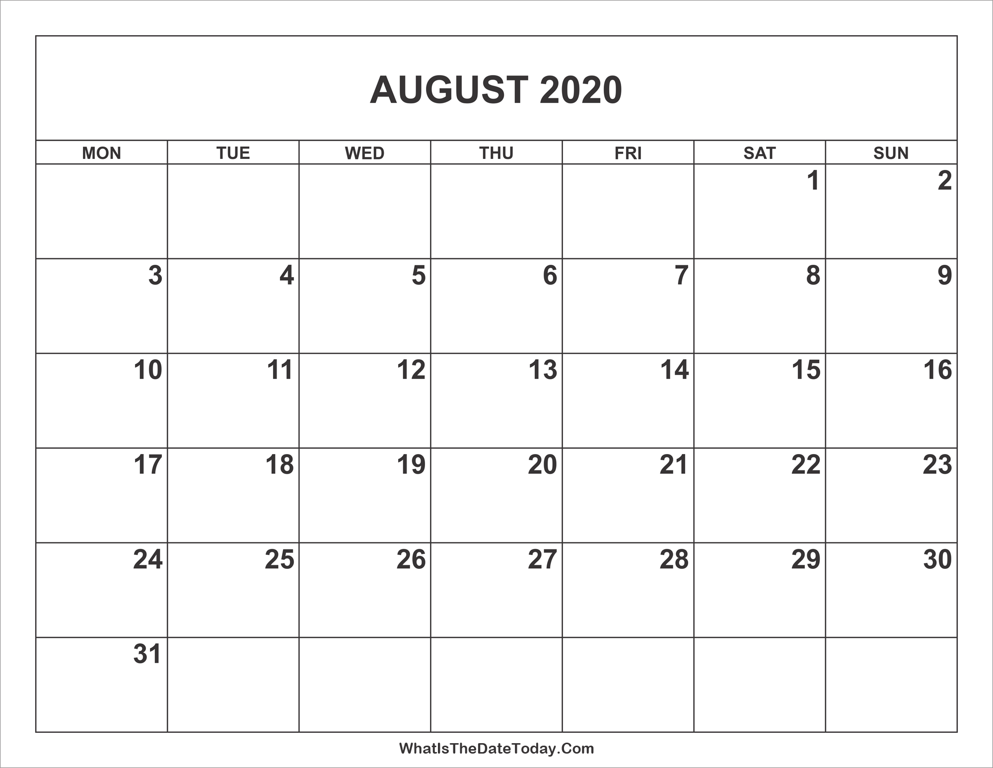 Calendar Aug 2020 Top 10 Punto Medio Noticias | August 2020 Calendar Dates