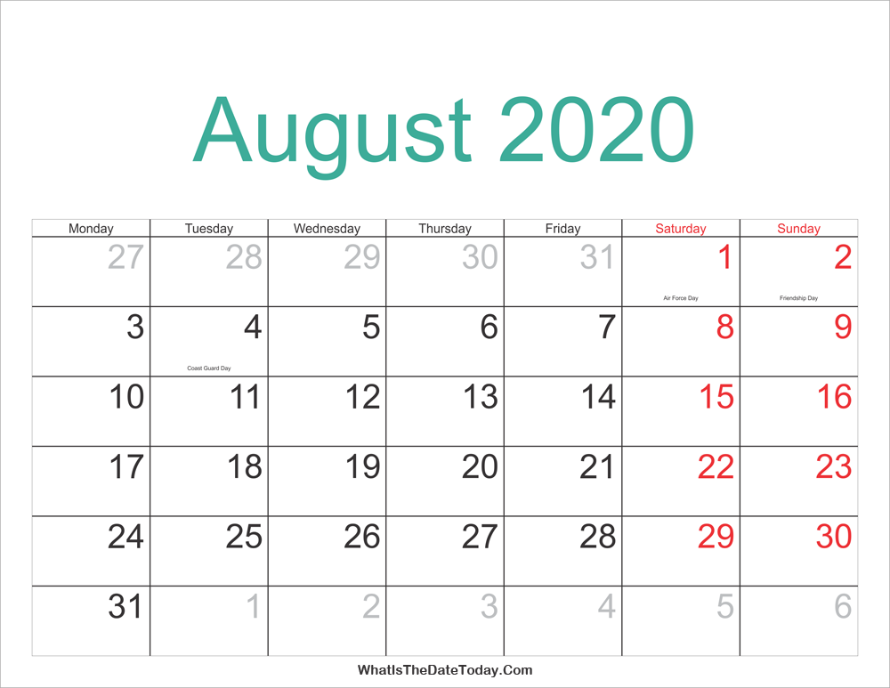 August 2020 Calendar With Holidays August 2020 Calendar Printable with Holidays | Whatisthedatetoday.Com