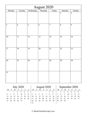 august 2020 editable calendar (vertical) with three mini months