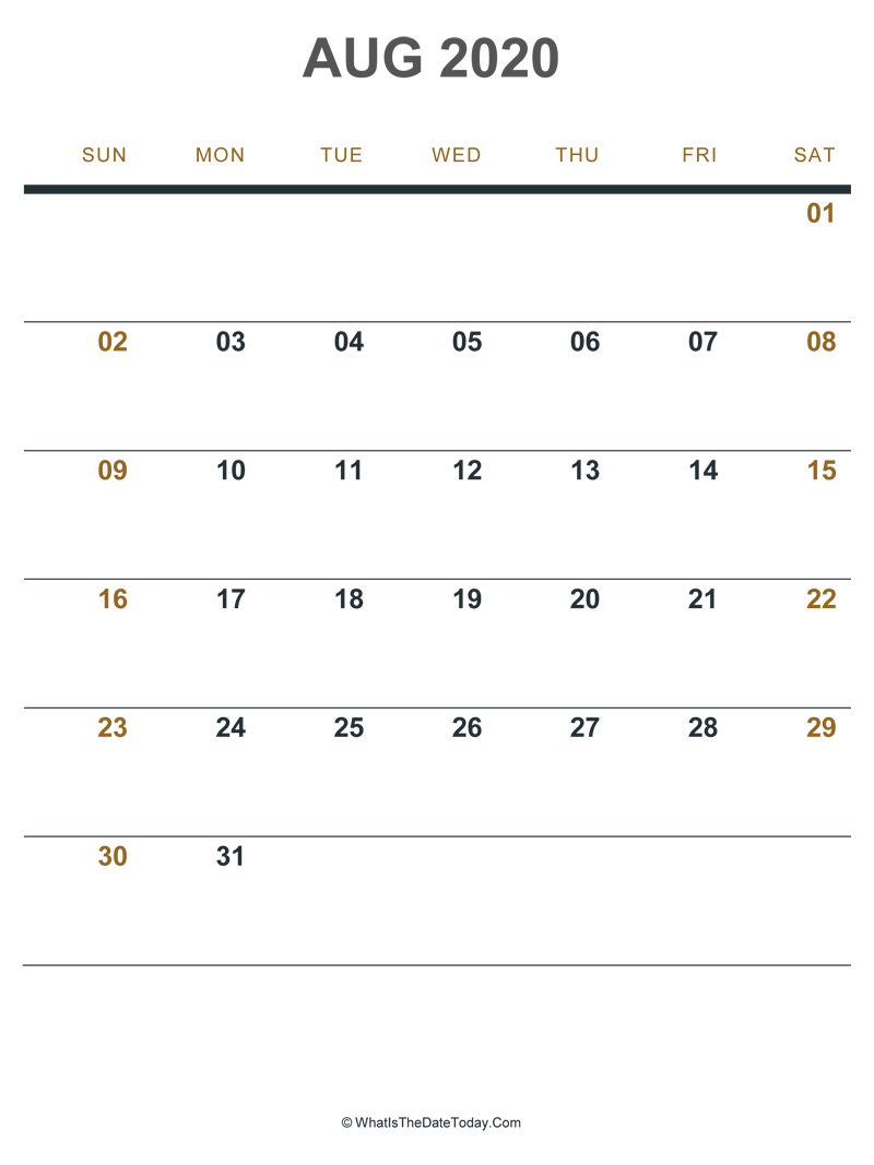 august 2020 printable calendar (portrait layout)