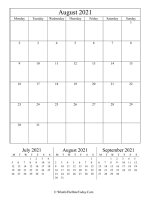 august 2021 editable calendar (vertical) with three mini months