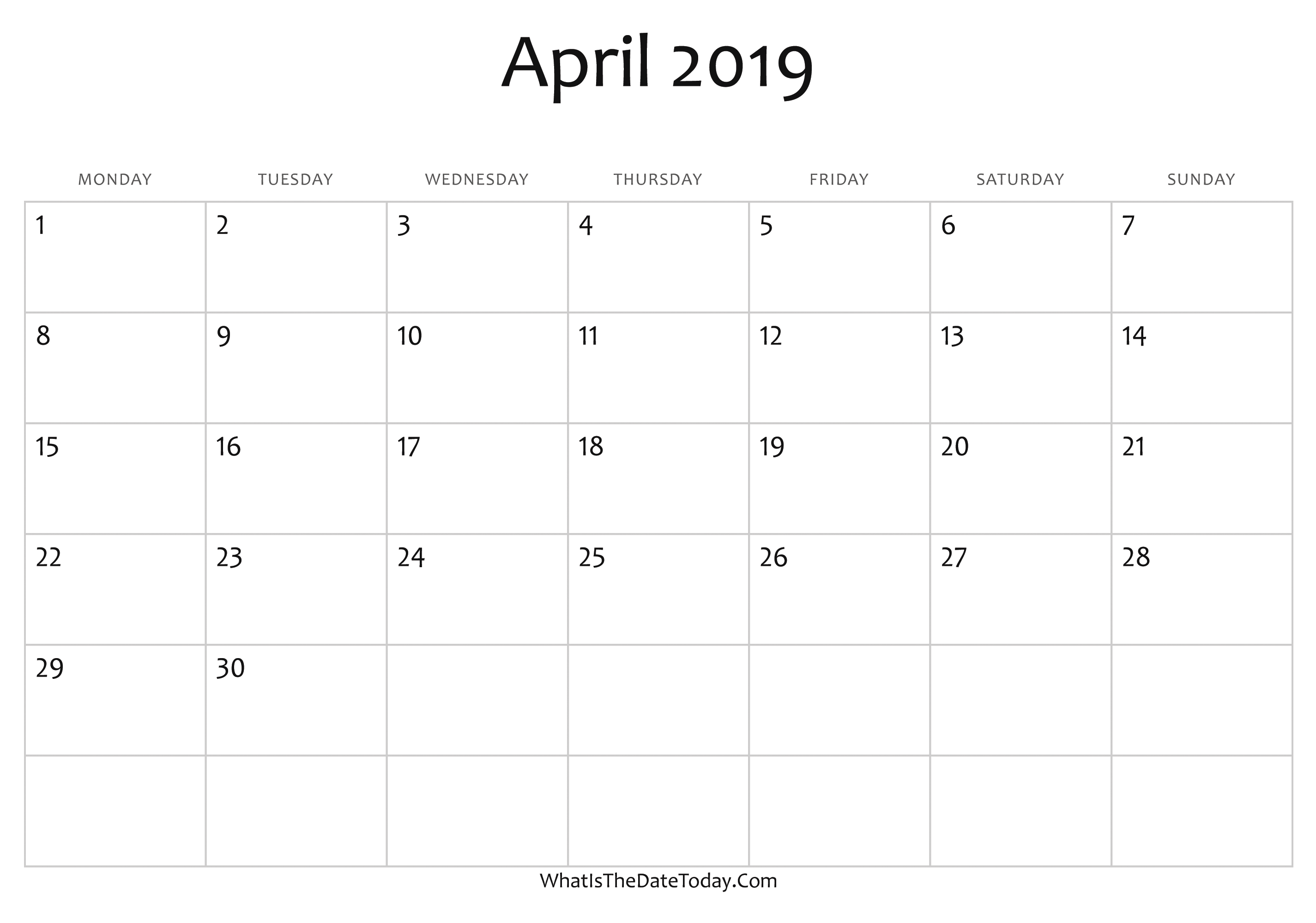 Calendar 2019 Editable Blank April Calendar 2019 Editable | Whatisthedatetoday.Com