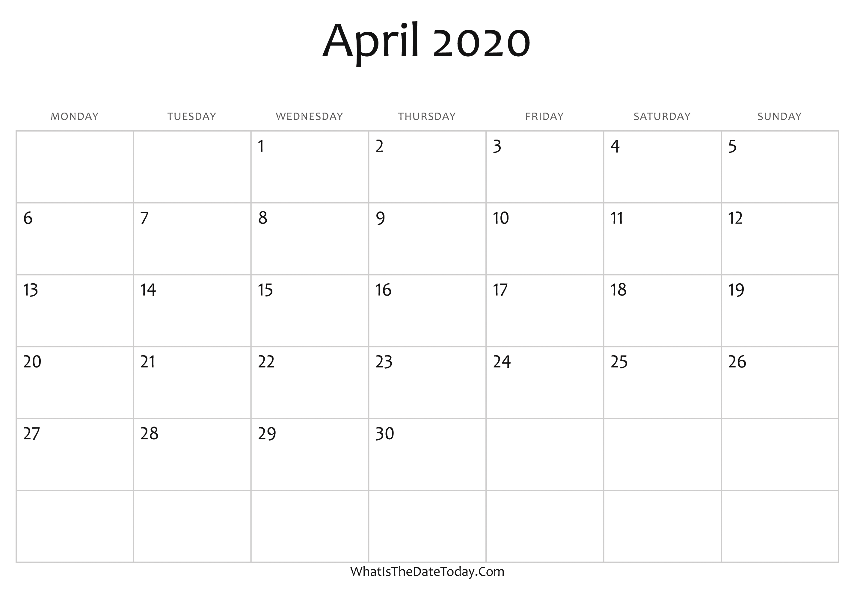 Blank Calendar For April 2020 Blank April Calendar 2020 Editable | Whatisthedatetoday.Com