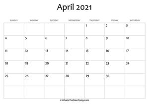 Editable April 2021 Calendar April 2021 Calendar Templates | Whatisthedatetoday.Com