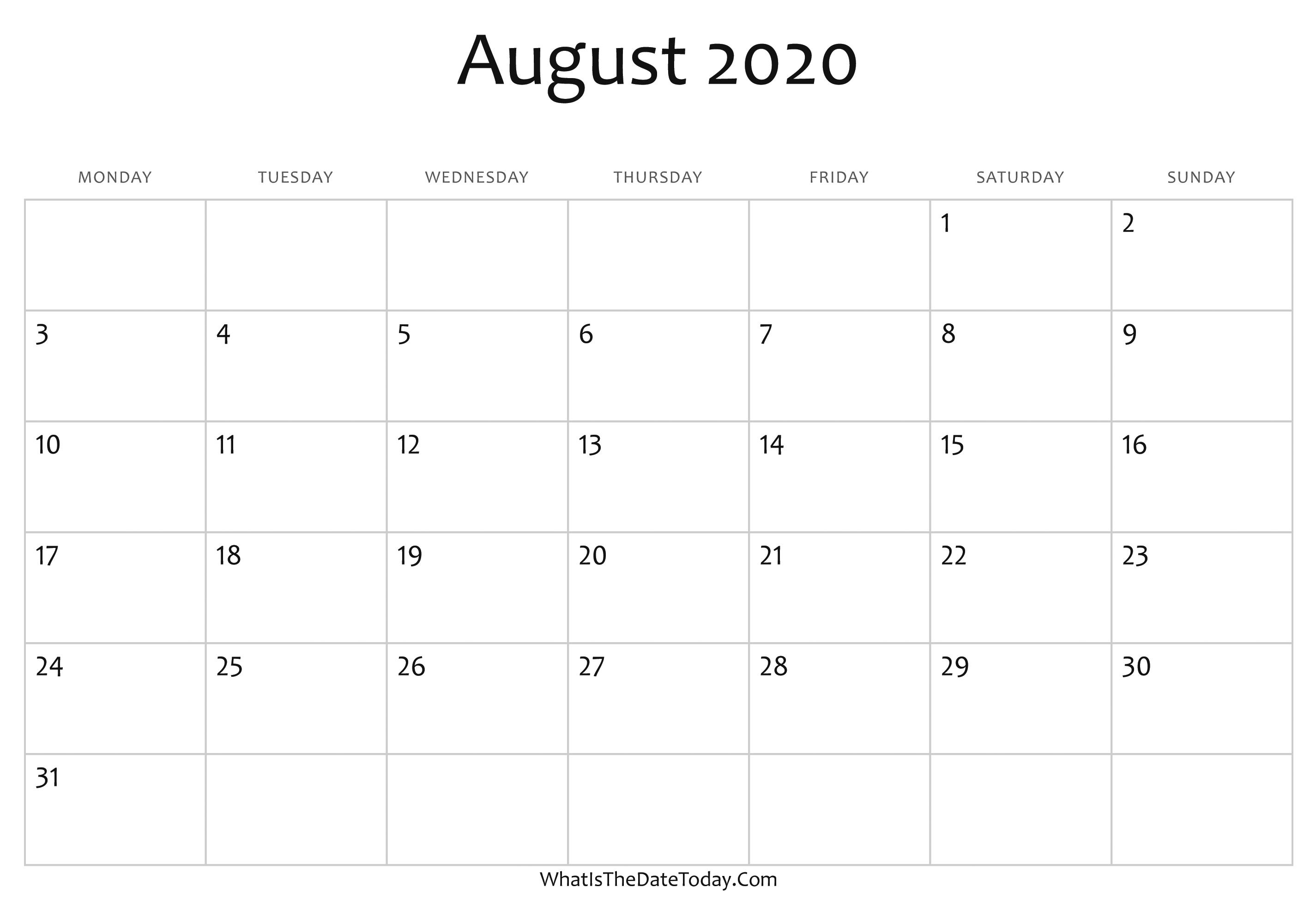 Writable Calendar 2022.Blank August Calendar 2020 Editable Whatisthedatetoday Com