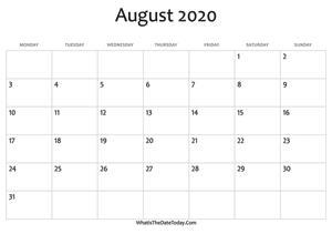 August 2020 Calendar Templates | Whatisthedatetoday Com