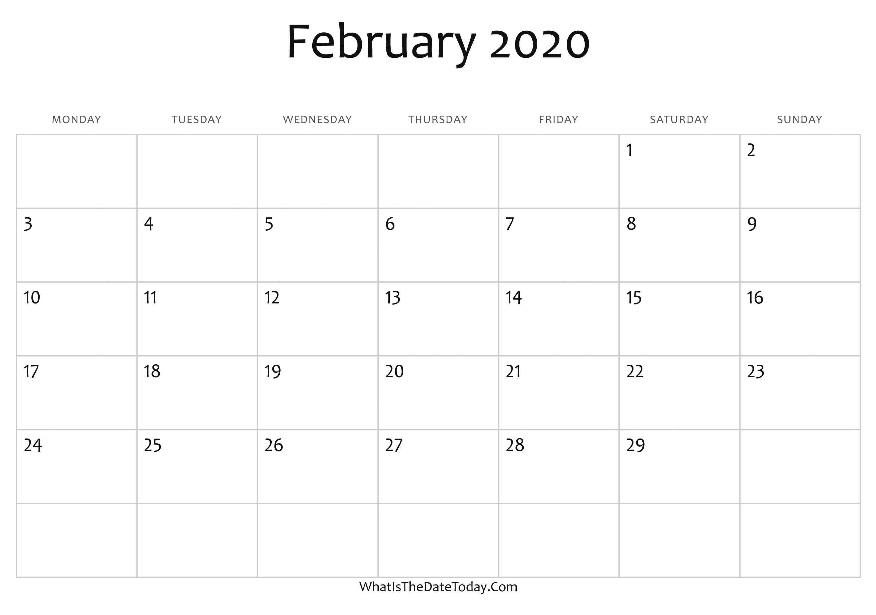 Editable 2020 February Calendar Blank February Calendar 2020 Editable | Whatisthedatetoday.Com