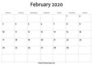 Fillable Calendar February 2020 February 2020 Calendar Templates | Whatisthedatetoday.Com