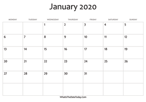 Printable Blank January 2020 Calendar January 2020 Calendar Templates | Whatisthedatetoday.Com