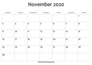 November 2020 Calendar Templates Whatisthedatetoday Com