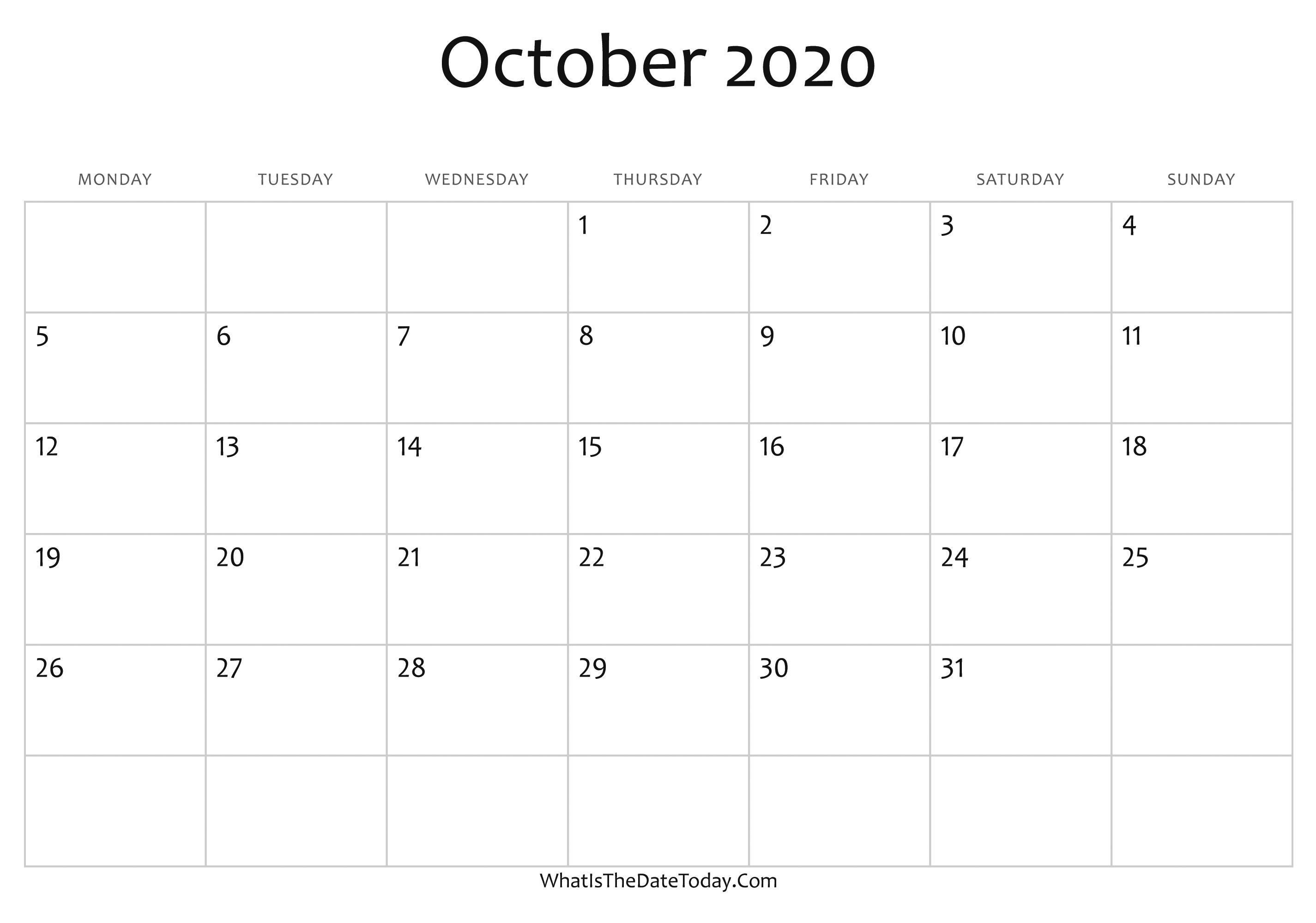 Calendar October 2020 Blank October Calendar 2020 Editable | Whatisthedatetoday.Com