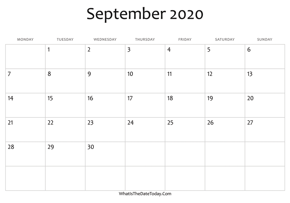 Editable Calendar September 2020 Blank September Calendar 2020 Editable | Whatisthedatetoday.Com