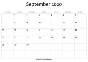 September 2020 Calendar Templates Whatisthedatetoday Com