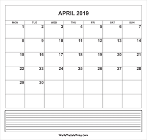 calendar april 2019 with notes