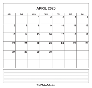 calendar april 2020 with notes