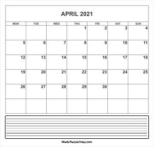calendar april 2021 with notes