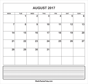 calendar august 2017 with notes