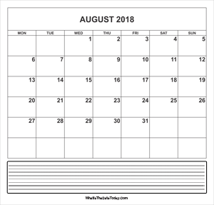 calendar august 2018 with notes