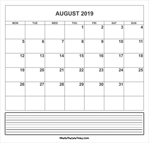 calendar august 2019 with notes