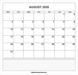 calendar august 2020 with notes