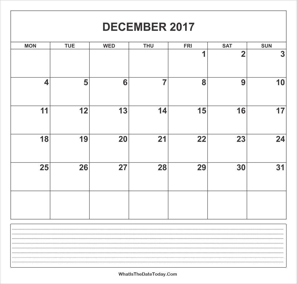 calendar december 2017 with notes