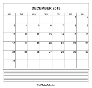 calendar december 2018 with notes