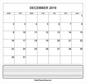 calendar december 2019 with notes