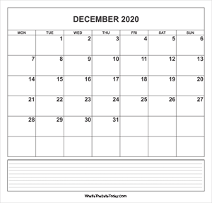 calendar december 2020 with notes