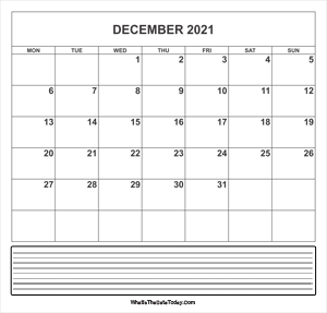 calendar december 2021 with notes