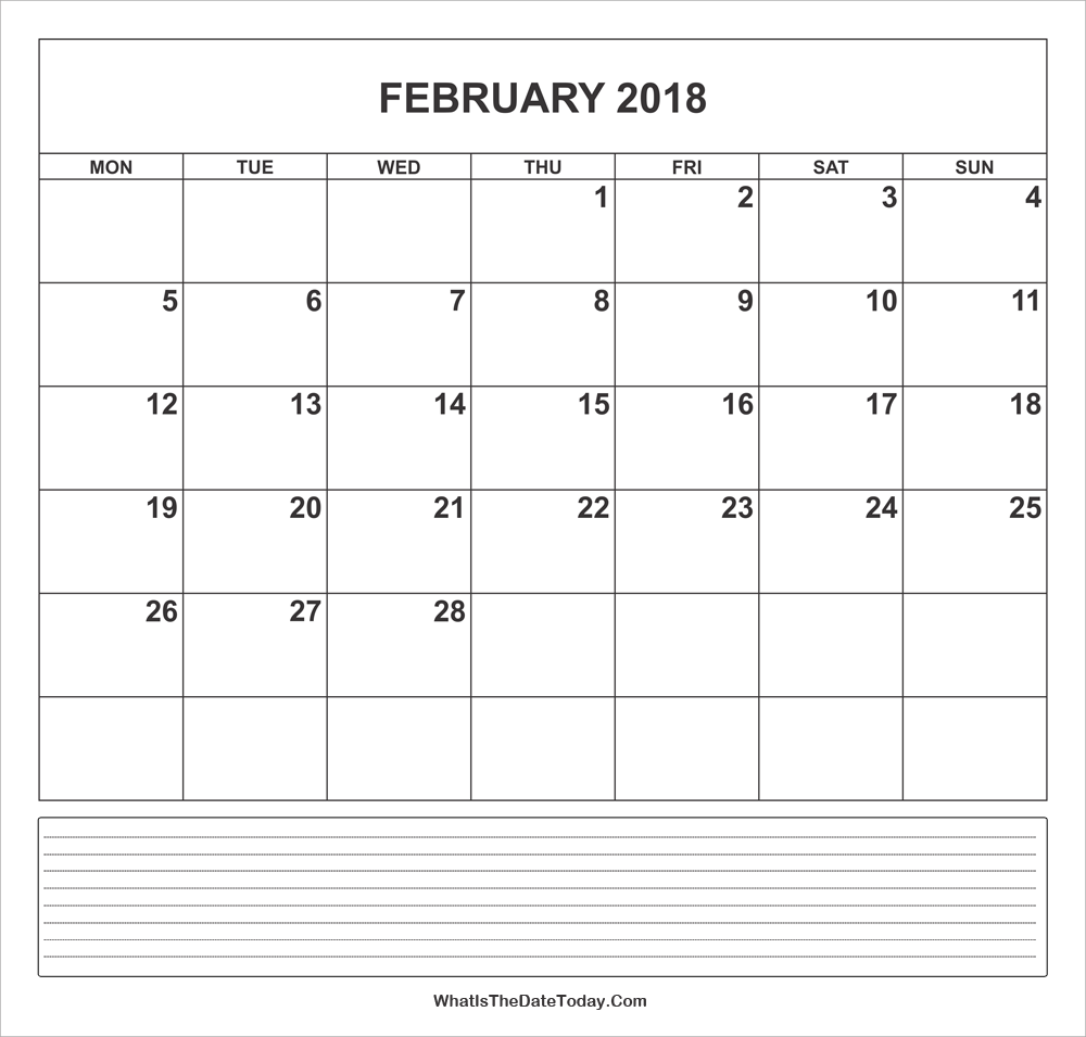calendar february 2018 with notes
