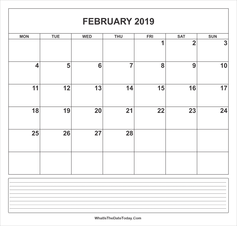 calendar february 2019 with notes