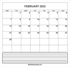 calendar february 2022 with notes