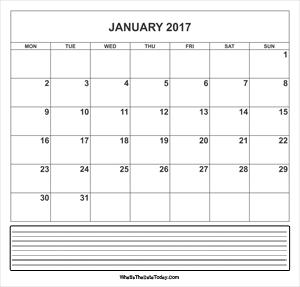 calendar january 2017 with notes