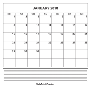 calendar january 2018 with notes
