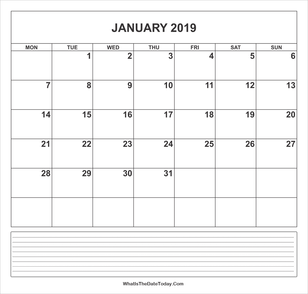 calendar january 2019 with notes