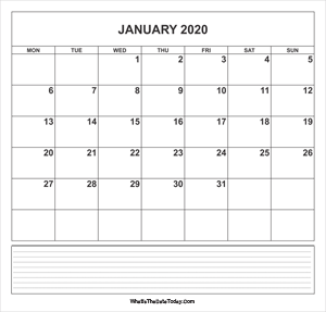 calendar january 2020 with notes