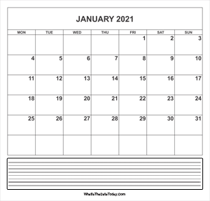 calendar january 2021 with notes