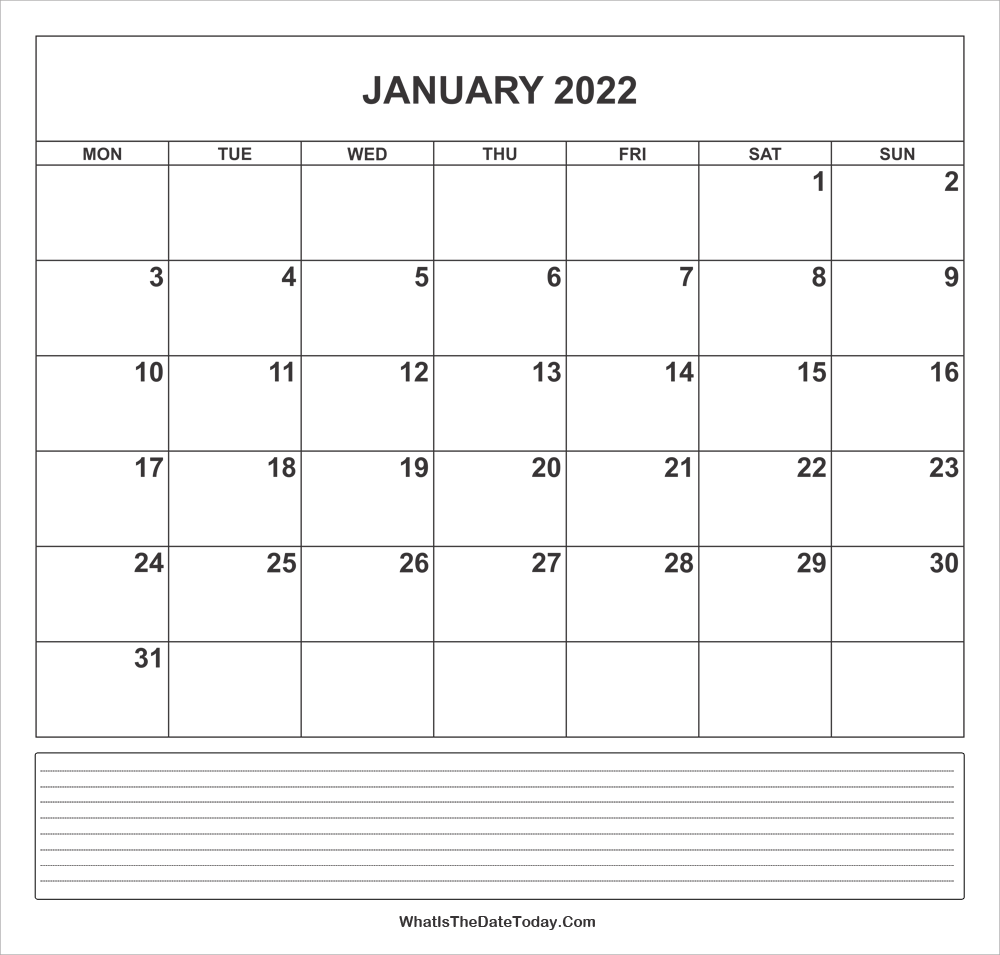 calendar january 2022 with notes