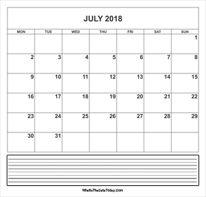 calendar july 2018 with notes