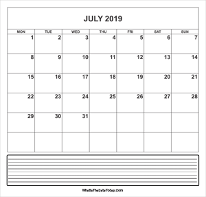 calendar july 2019 with notes