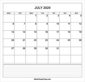 calendar july 2020 with notes